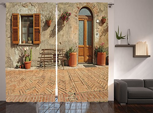 Ambesonne Tuscan Decor Collection, Medieval Facade Italian Rustic Wooden Door Brick Wall in Small Village, Window Treatments, Living Room Bedroom Curtain 2 Panels Set, 108 X 84 inches, Peru Salmon