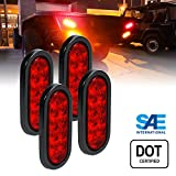 4pc 6 Inch Oval LED Trailer Tail Lights - RED Turn Stop Brake Trailer Lights for RV Trucks (DOT Certified, Grommet & Plug Included)