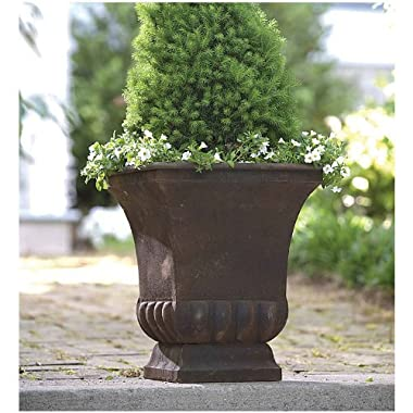 Gardman 8225 Large Rustic Metal Urn Planter, 15.75  Long x 15.75  Wide x 18  High