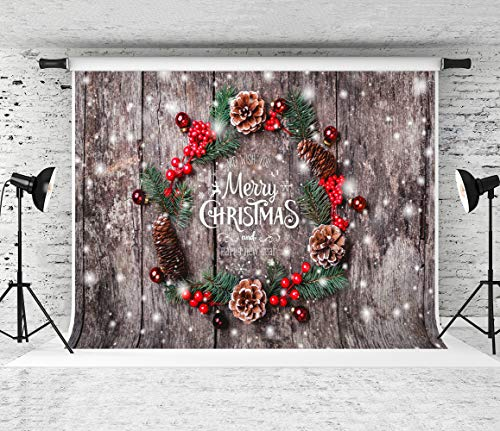 Kate 7x5ft Merry Christmas Backdrop Christmas Wood Backgrounds Xmas Mistletoe Photo Booth Props