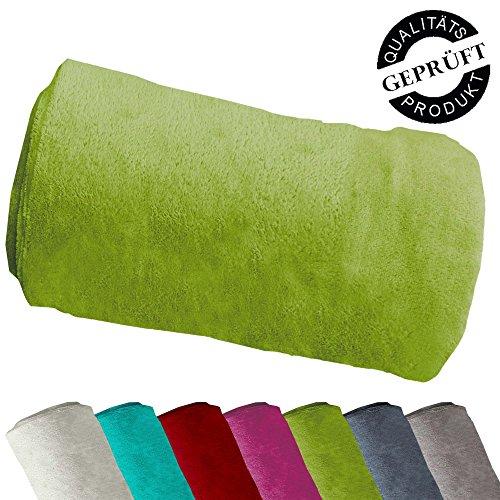 Microfaser-Flausch Decke / Flausch Decke / Decke / Kuscheldecke / Sofadecke / 100% Polyester (Microfaser) / 150x200 cm / grün
