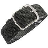 Eulit Kristall 20mm Black Woven Braided Nylon Perlon German Watch Strap