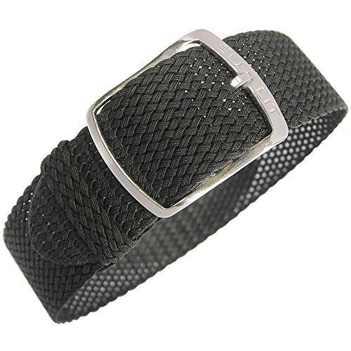Eulit Kristall 20mm Black Perlon Watch Strap