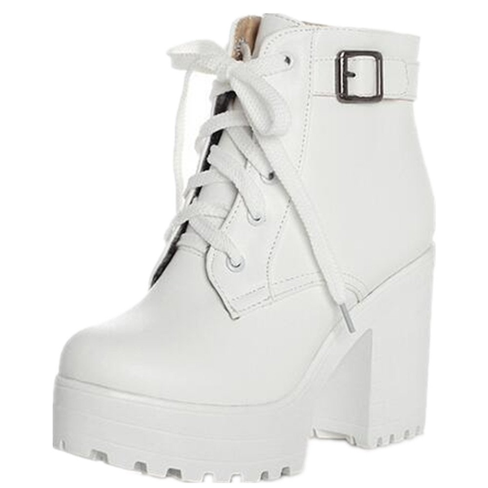HAPPYLIVE SHOPPING Women's Winter Fashion Waterproof Platform Combat Ankle-High High-Heel Chunky Boots, Lace-up Martin Boots (11 US 42EU, White)