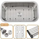 Comllen Best Commercial 304 Brushed Nickel 18 Gauge 31 Inch Drop In Kitchen Single Bowl Undermount Kitchen Sink, Stainless Steel Bar Undermount Sink