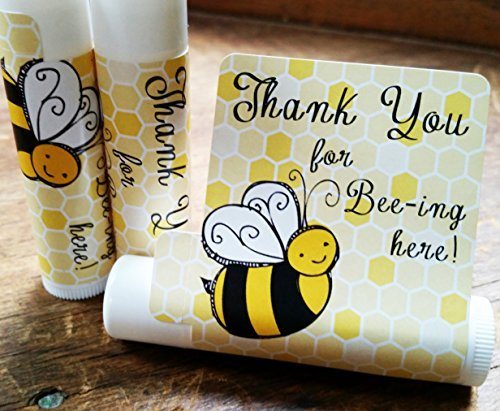 12 Bee Lip Balm Favors - Bee Baby Shower Favor Lip Balms - Bee Birthday Favor Lip Balms - Lip Balm Favors - Natural Baby Shower Favors