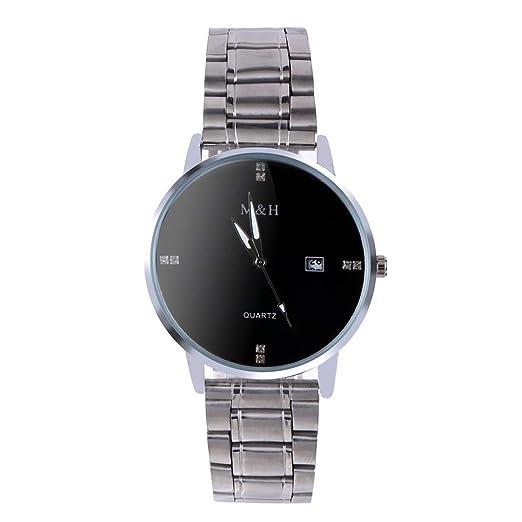VEHOME Inteligentes Reloj de Calendario Simple para Hombres Reloj de Diamantes de imitación con Correa de Acero Inoxidable Reloj de Cuarzo Relojes relojero ...