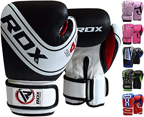 RDX Kids Boxing Gloves Maya Hide Leather 4oz 6oz Junior Punch Bag MMA Training Muay Thai Mitts ()