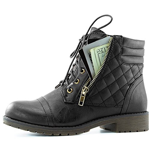 DailyShoes Women's Military Lace Up Buckle Combat Boots Ankle High Exclusive Credit Card Pocket, Black Pu, 8.5