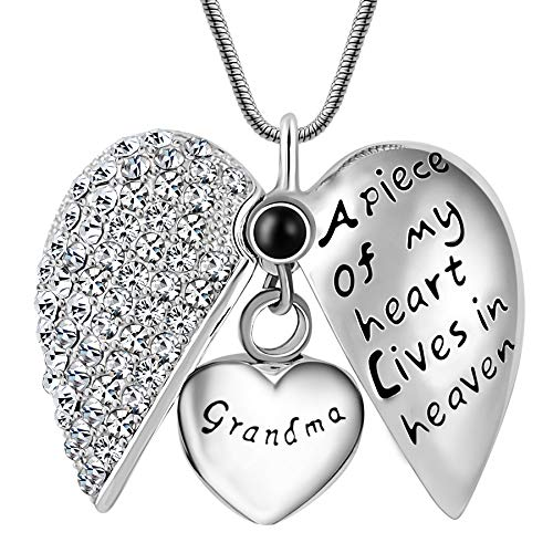 Eternaloved Mens Novelty Jewelry,A Piece of My Heart in Heaven Cremation Memorial Ash Urn Pendant Necklace for Keepsake (Grandma)