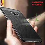 AE MOBILE ACCESSORIES Grid Jali Heat Dissipation Hollow Thin Soft TPU Back Case Cover for Samsung Galaxy S7 Edge (Black)
