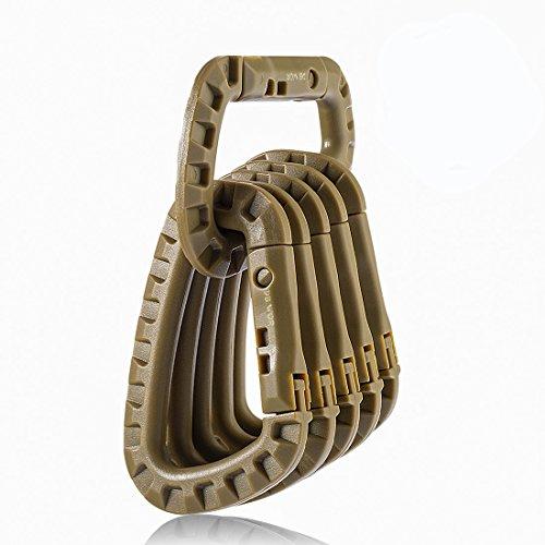 DB.WOR Carabiner Tactical 6pcs Enforcement Polymer Light Weight D-Ring Hanging Hook (Khaki)