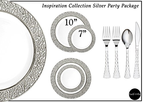 Royalty Settings Inspiration Collection Lace Plastic Plates for Weddings for 120 Persons, Includes 120 Dinner Plates, 120 Salad Plates, 240 Forks, 120 Spoons, 120 Knives, White with Silver Rim -