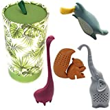 Loose Leaf Tea Infuser Set Of 4 By Hometiz: Sweet And Funny Shapes Of Animals, Silicone Herbal Tea Strainer For Different Kinds Of Mugs And Leaves, Easy To Use And To Clean, Non-Toxic, With Fancy Box