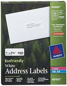 Avery White EcoFriendly Address Labels, 1 x 2.625 Inches, Box of 3000 (48460)