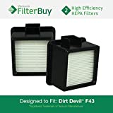 2 - Dirt Devil F-43 (F43) HEPA Replacement Filters, Part #s 2PY1105000 & 1PY1106000. Designed by FilterBuy to fit Dirt Devil Easy Lite Cyclonic & Dirt Devil Extreme Quick Cyclonic Upright Vacuums