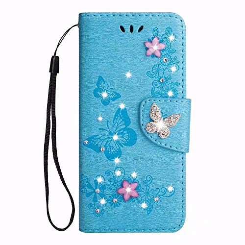 Samsung Galaxy Note 9 Case,Galaxy Note 9 Wallet Case,Pattern Stylish Floral Folio Book Design PU Leather with Magnetic Clasp Card Holders Diamond Crystal Rhinestone Butterfly Flowers Case,Blue