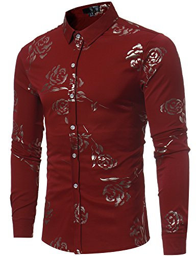 ZEROYAA Mens Hipster Gold Rose Printed Slim Fit Long Sleeve Dress Shirts/Prom Performing Shirts Z56 Wine Red Medium ()