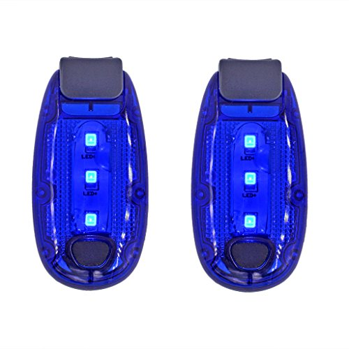 LED Safety Light Blue Flashing Running Lights Bicycle Reflector Strobe Lights Warning Reflective Gear for Runners, Kids, Dog, Cycling, Walking (Pack of 2) - Flashing Safety Reflector