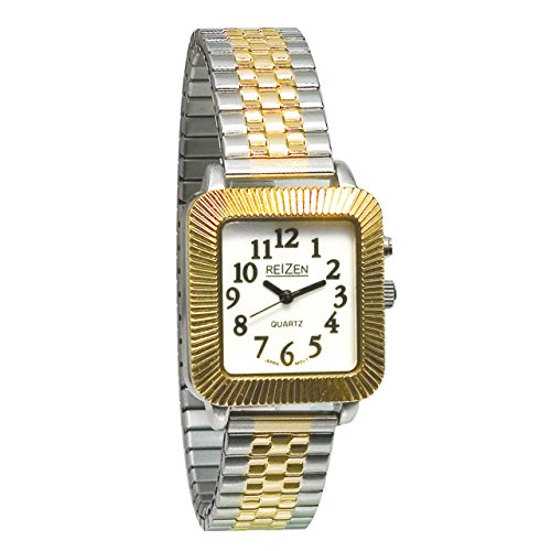 Expansion Face Band Watch (Reizen Unisex Glow-in-the-Dark Watch - Square Face with Expansion Band)
