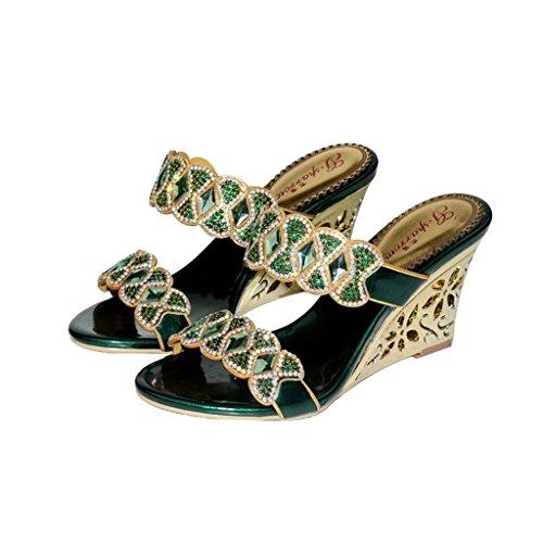 Meijili Con Mujer Verde Tacón Zapatos X1PU1rH