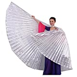 Rcool Beautiful Soft Fabric Egypt Belly Dancing Wings Wrap Shawl Women Girl Costume Dresses Capes Stoles Dance Accessory (Silver)