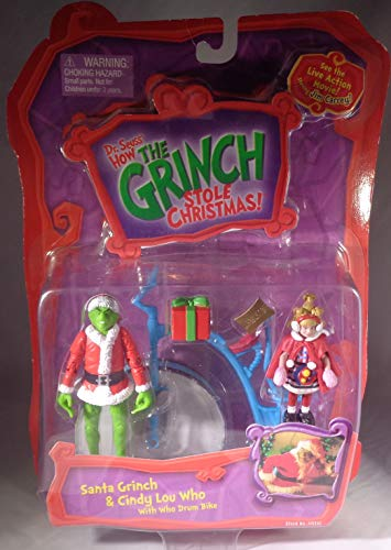 Dr. Seuss How the Grinch Stole Christmas Action Figure Set: Santa Grinch & Cindy Lou Who with Who Drum -