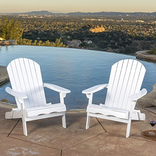 Christopher Knight Home 296699 Denise Austin Milan Outdoor Folding Wood Adirondack Chair (Set of 2), Set of Two, White