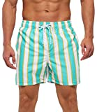 SILKWORLD Men's Shorts Swim Shorts Quick Dry Athletic Swimwear with Pockets,White Blue Stripes,Large