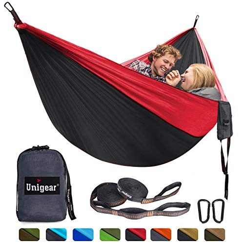 Unigear Hammock, Single & Double Camping Hammock, Portable Lightweight Parachute Nylon Hammock with Tree Straps for Backpacking, Camping, Travel, Beach, Garden (Black/Red)