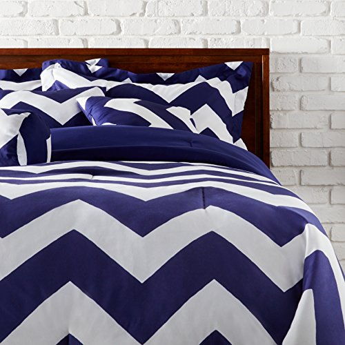 7 Piece Queen Navy/White Chevron Comforter Set, Allergy Bedding, Hypoallergenic, for Classic Master Bedroom, Traditional Style, Warm & Soft, Solid Color Pattern, Machine Wash, Blue/Pearl, Polyester