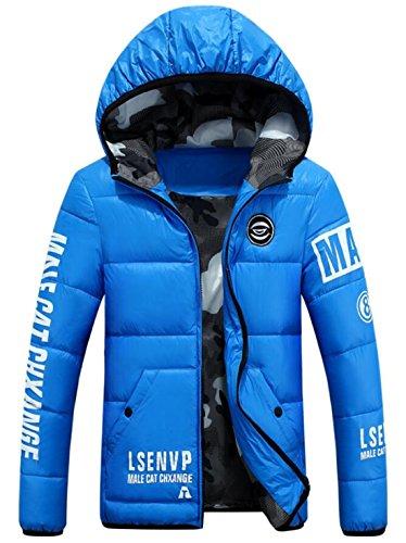 EKU Men's Athletic Warm Coat Winter Hooded Down Jackets Light Blue US L