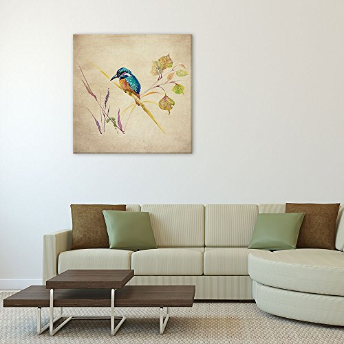 Square Retro Style Water Color Painting of a Brid and Plants