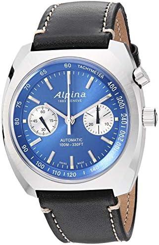 Alpina Men's Startimer Pilot Heritage Stainless Steel Swiss Automatic Aviator Watch with Leather Calfskin Strap, Blue, 22 (Model: AL-727LNN4H6)