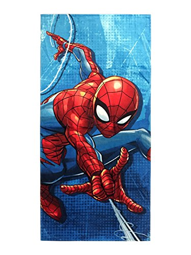 Jay Franco Marvel Spiderman Blue City Kids Bath/Pool/Beach Towel - Super Soft & Absorbent Fade Resistant Cotton Towel, Measures 28 inch x 58 inch (Official Marvel Product)