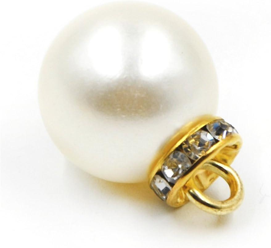 pack de 10 Blanco perla Botones en bola con Metal v/ástago camiseta Cardigan Sweater bot/ón 8 mm