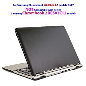 """iPearl mCover Hard Shell Case for 11.6"""" Samsung XE303C12 series Chromebook (Wi-Fi or 3G) laptop (Not Compatible with Samsung Chromebook 2 XE503C12 / XE500C12 and Samsung Chromebook 3 XE500C13 )-BLACK"""