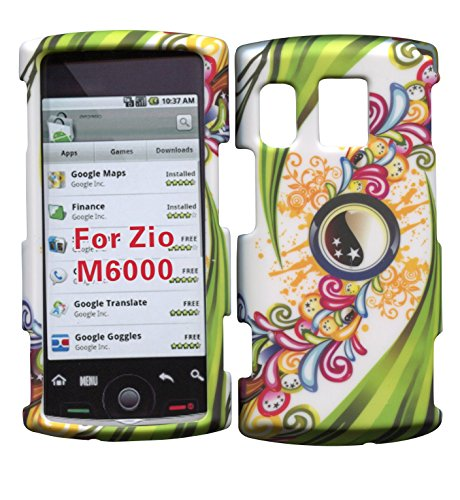 Green Leaves Sanyo Zio by Kyocera M6000 Cricket Case Cover Hard Phone Case Snap-on Cover Rubberized Touch Faceplates - Kyocera Green Faceplates