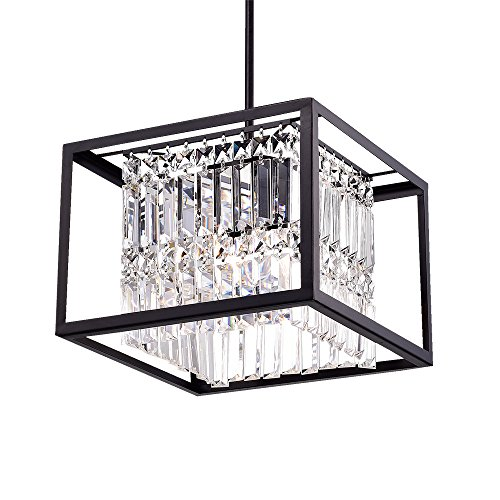 Crystal Chandelier Rod Pendant - Warehouse of Tiffany RL8194BL Ketalin Black Crystal Square Pendant