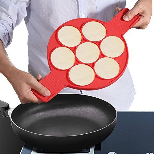 7pcs Uova in Camicia in Silicone PChero Pancake Maker in Silicone con 7 Stampi per Pancake e Uovo di Cottura Facile Veloce