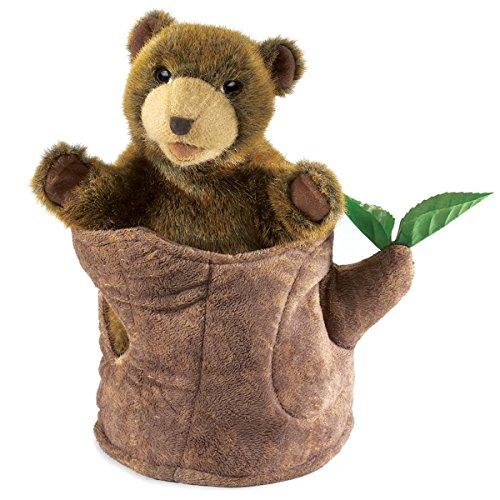 Folkmanis Bear in Tree Stump Hand Puppet Bear Plush Hand Puppet