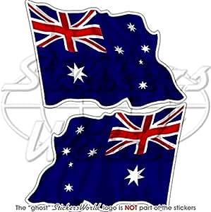 """Australia Australiano Bandera de saludando 3""""(75mm) vinilo Parachoques Pegatinas, calcomanías x2"""