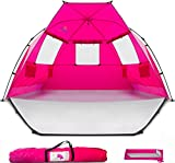 Beach Tent Shelter Shade Cabana - Extra Large Sun Portable Changing Outdoor Tent Deluxe – Quick Giant Automatic Pop Up for Adults, Kids, Toddler, Baby with Extended Ground Floor & Sandbag