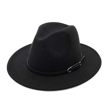 7aaf0a5440f8b Vim Tree Unisex Wide Brim Felt Fedora Hat for Men Women Trilby Cap with Band  Black