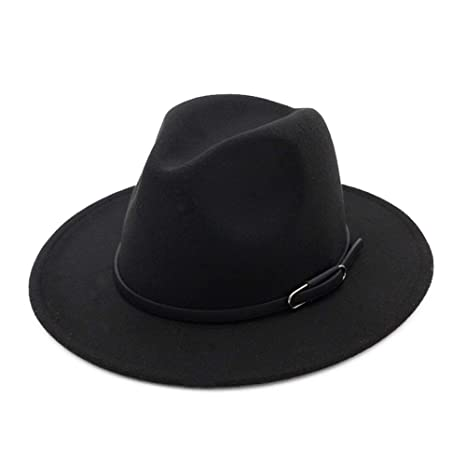 f8c6a43d015bf Vim Tree Unisex Wide Brim Felt Fedora Hat for Men Women Trilby Cap with Band   Amazon.ca  Clothing   Accessories