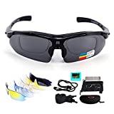 Sports Sunglasses Polarized for Men Women,UV400 Protection Unbreakable Sports Glasses with 5 Interchangeable Lenses for Cycling, Fishing, Running, Driving, Golf, Baseball, Outdoor Activities (BLACK)