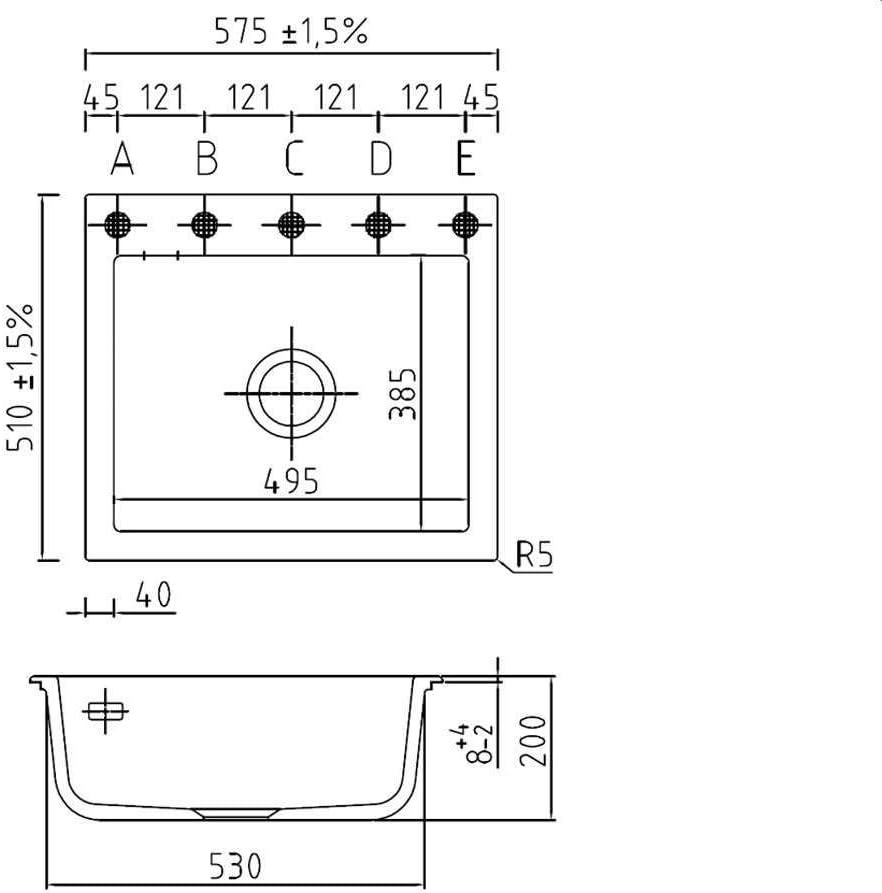 Systemceram Mera 57 Gr/önland Keramik-Sp/üle Handbet/ätigung Wei/ß gl/änzend Einbaubecken