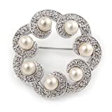 Small Crystal Faux Pearl Wreath Brooch In Rhodium Plated Metal - 30mm L