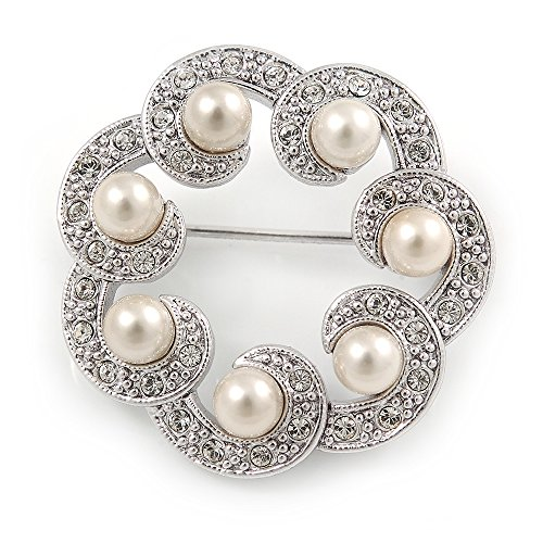 Small Crystal Faux Pearl Wreath Brooch In Rhodium Plated Metal - 30mm L ()