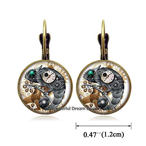 Waozshangu Green Eye Lizard Glass Earrings, Gecko Round Glass Dome Dangle Earrings Mechanical Clock Earrings Jewelry,PU141 (Brass)